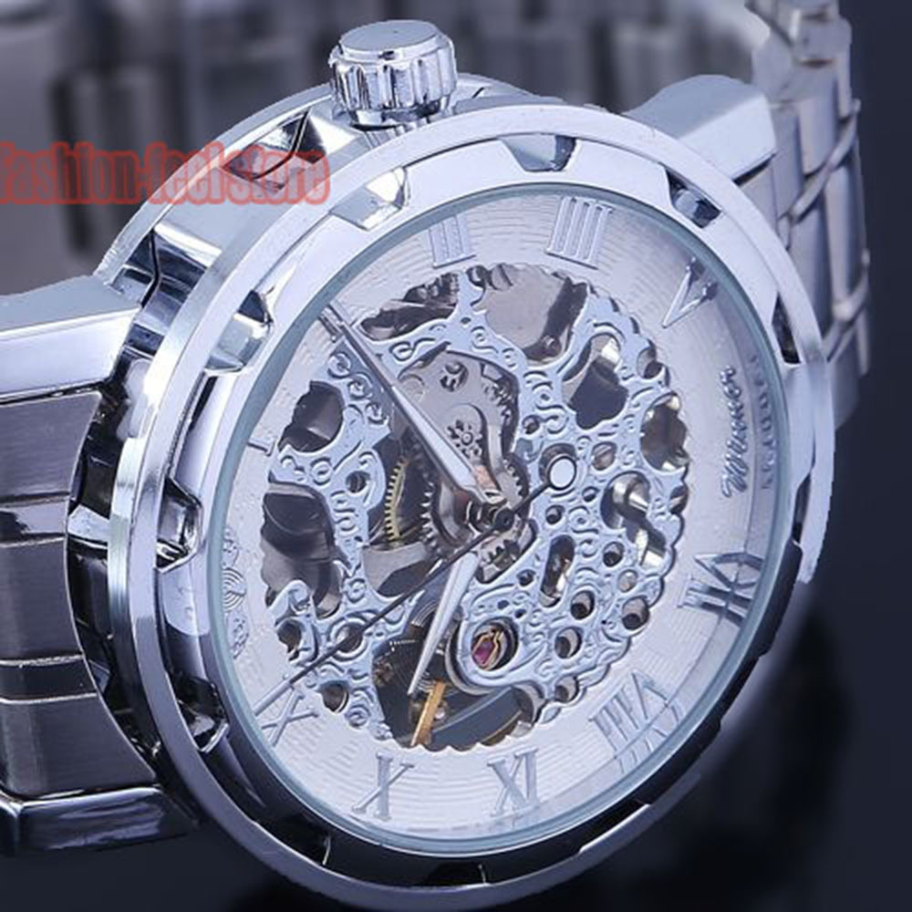 2015 New Classic Men's Fashion Casual Stainless Steel Skeleton Mechanical Hand Wind Watch For Men Dress Wristwatch Gift Box(China (Mainland))