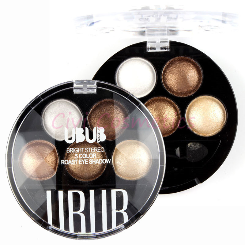 Pigment Eyeshadow 5 Colors Eye Shadow Powder Metallic Shimmer UBUB Warm Color(China (Mainland))