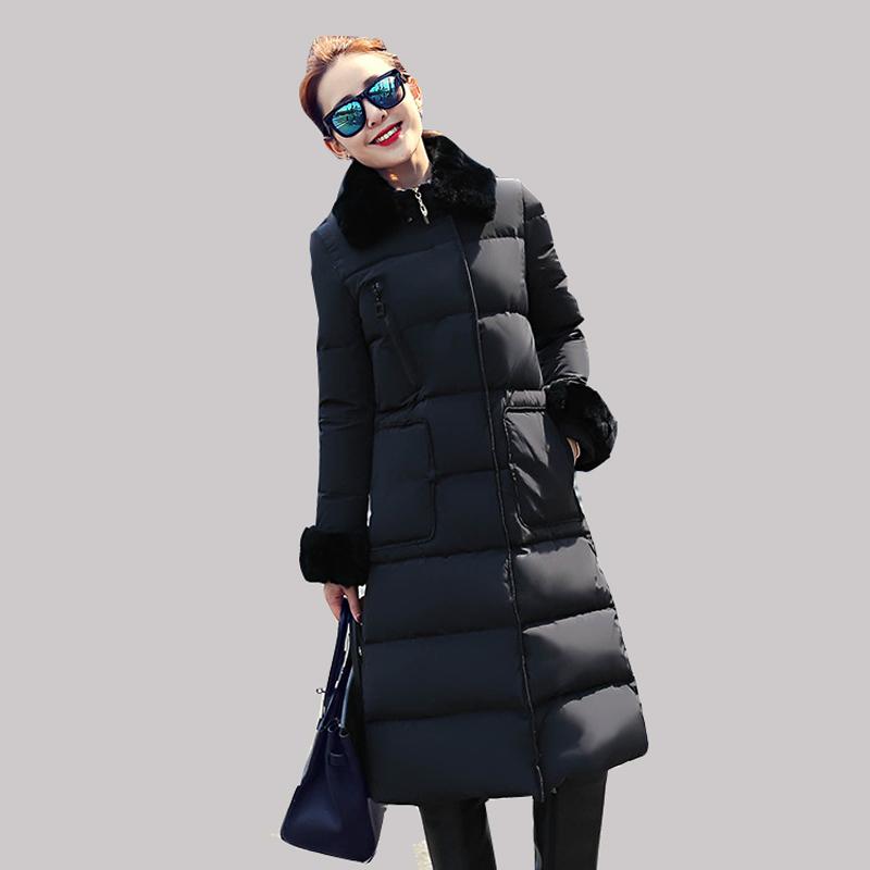 Корейский тонкий колен утка вниз куртки женские сапо зимнее пальто толще пальто 2015 новые теплые парки с карманом manteau фам дя-1041