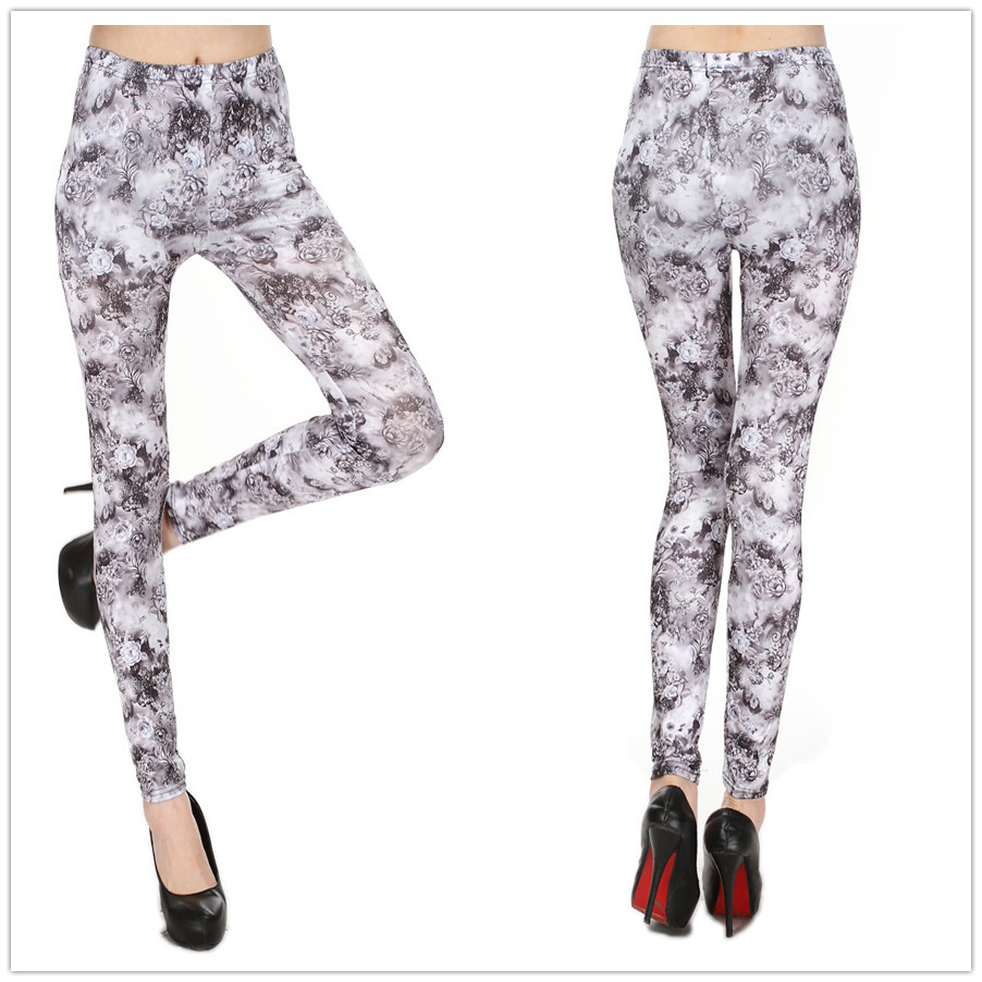 American Apparel Gray Rose Print Women Leggings Tie Dye Printed Leggins Fitness Sports Legging Clothing - DOKI store