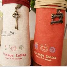 Vintage pencil rolls Elegant Style makeup women girls Canvas pen make up bag for students kids