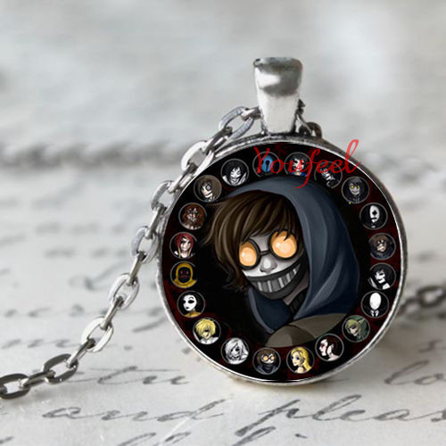 For Kids Jewelry Acessory Necklace Gift Creepypasta CREEPY PASTA TICCI TOBY Necklace Glass Pendant chain JEFF THE KILLER(China (Mainland))