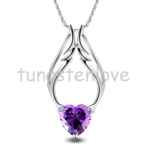 Fshion Exquisite Heart Shaped Angel Wings Crystal Pendant Necklace in Silver Plated For Women(China (Mainland))