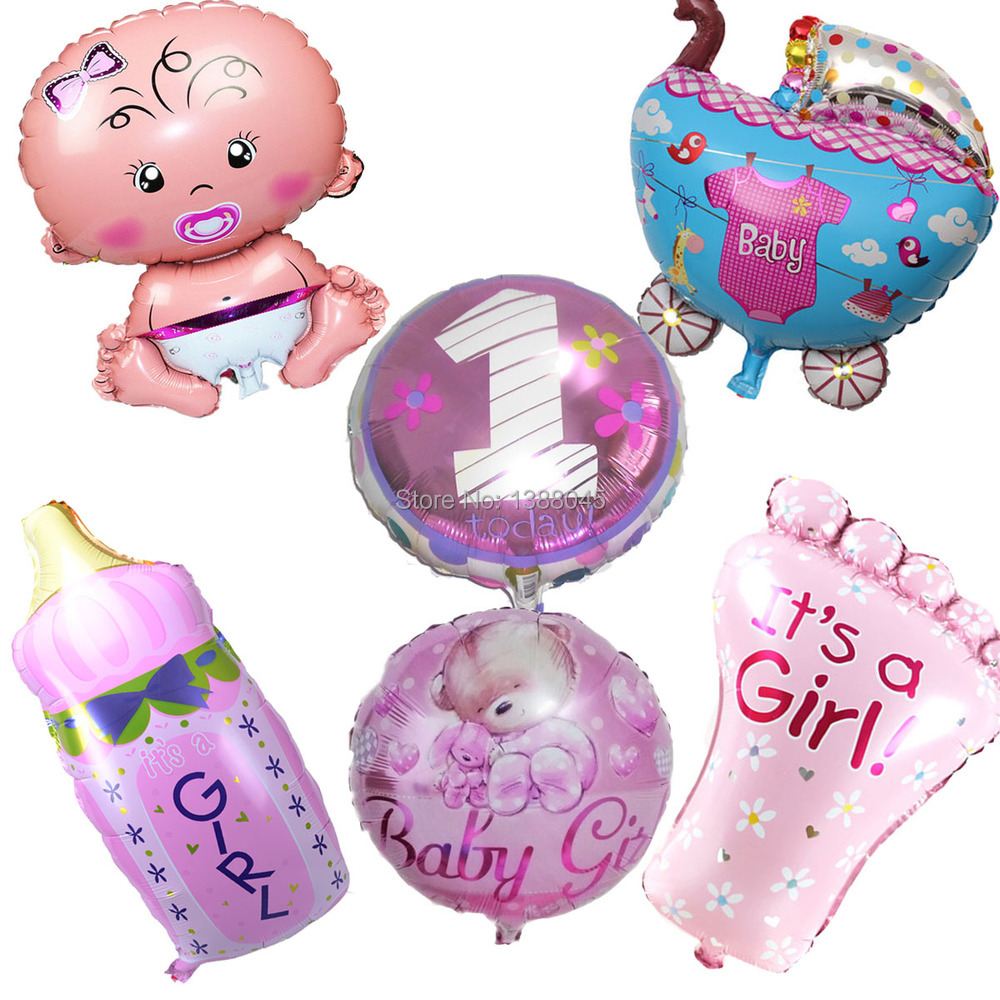 6pcs lot Baby Shower Helium Foil Balloons Baby Boy Girl Birthday Party Decorations 1th Birthday Party