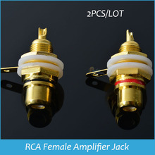 RCA Female Jack 2PCs/lot Gold Plated RCA Connector Panel Mount Chassis Audio Socket Plug Bulkhead with nut solder cup