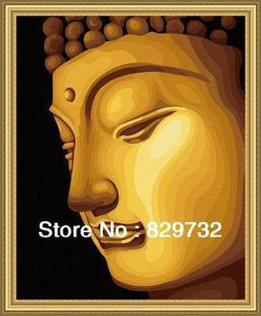JIUJIU DIY digital oil painting Free shipping the picture unique gift 40X50cm Golden Buddha Bronzing paint by numbers