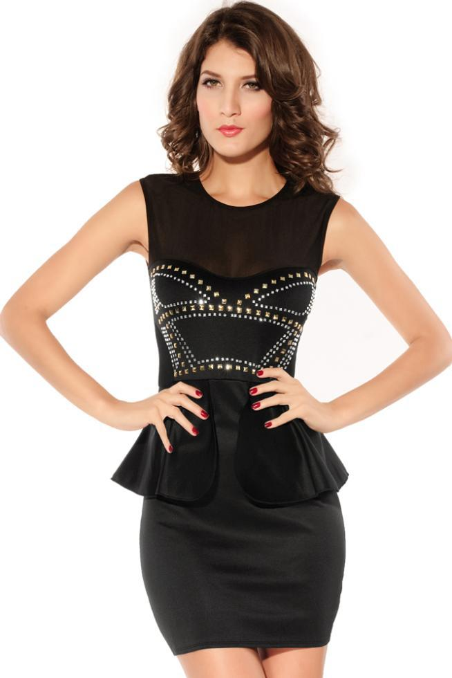 Dress Party Evening Elegant Front Rivets Adornment Peplum Dress Fashion Style Sexy Dresses For