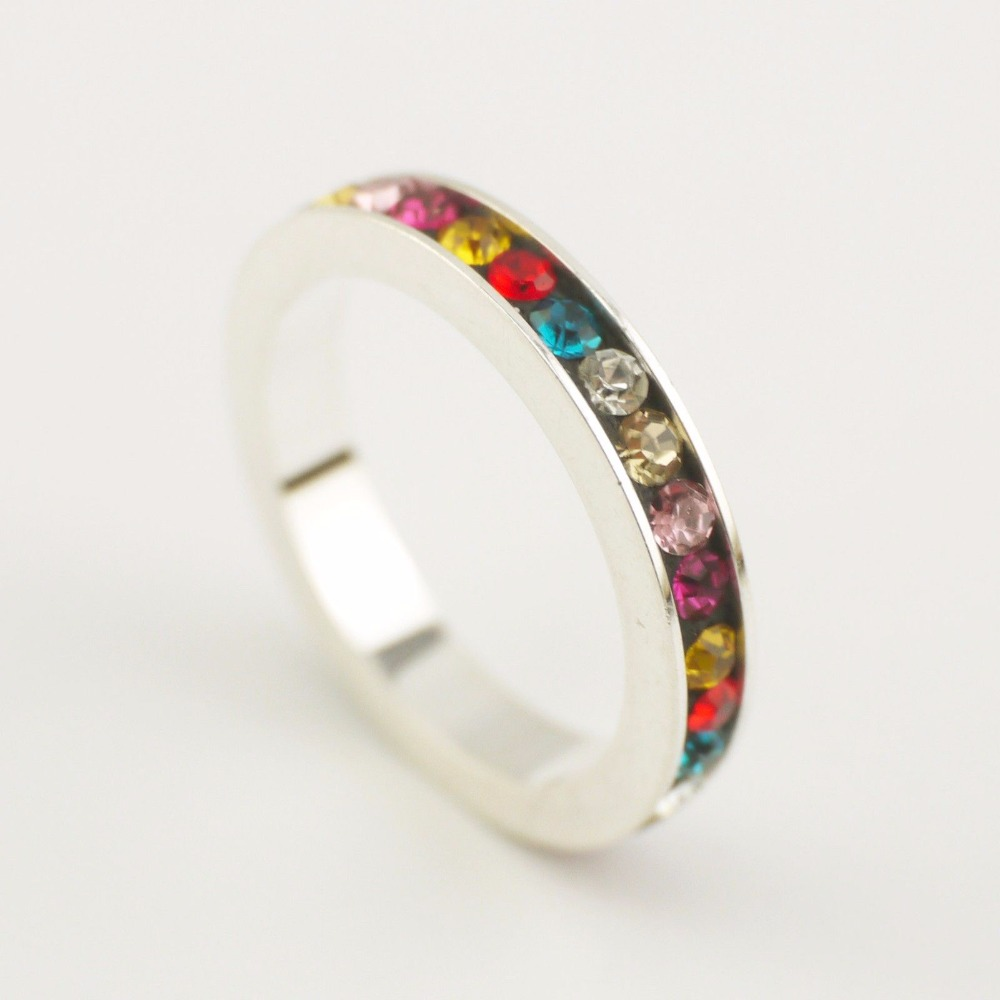 Wholesale 35% Off When Buying 5 - Sterling Silver Simple Bling Sparkling Colorful Zirconia Ring A3076(China (Mainland))