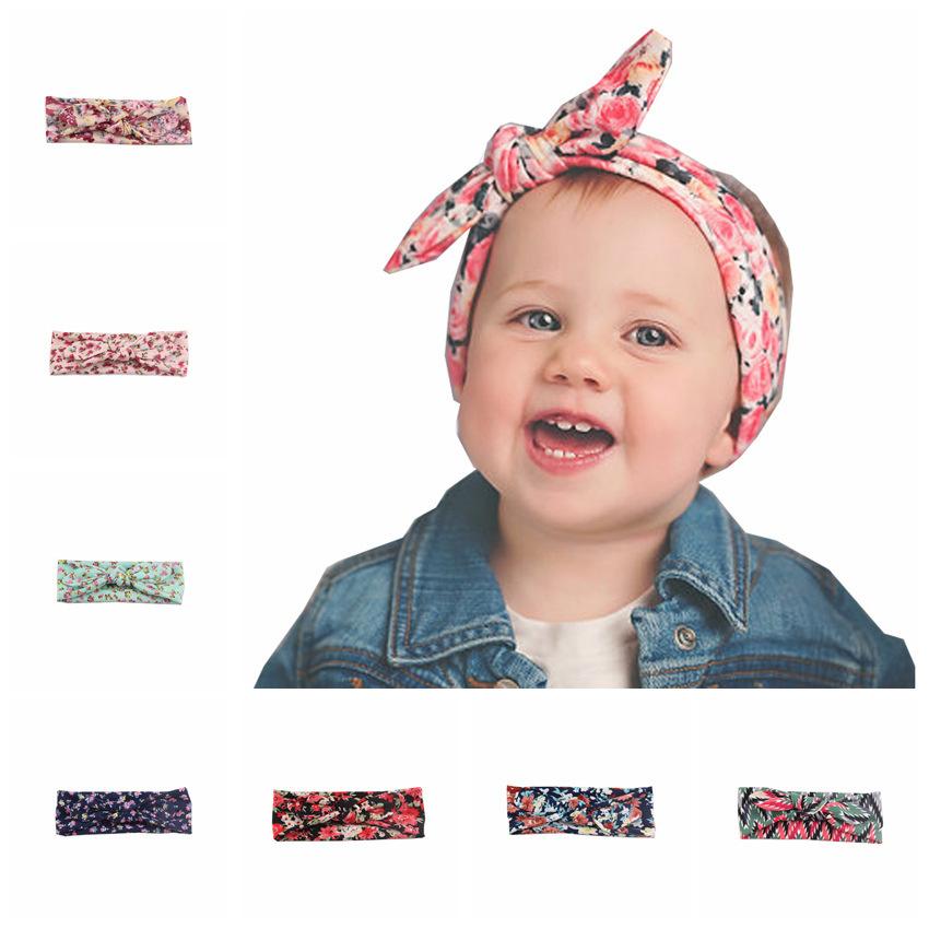 2016 Baby Turban Tie headbands printed elastic new rabbit ears headband simple Bohemian fashion knot headwrap hair accessories(China (Mainland))