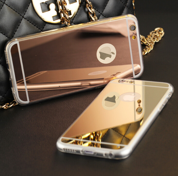 """Luxury Plating Mirror TPU Frame Case For iphone 5S 5 SE 6 6S 4.7 6 6S Plus 5.5"""" Cover Soft Back Phone Bag(China (Mainland))"""