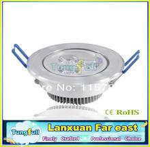 (3pcs/lot) 3w led down light Aluminum materail 85-265v 270lm celing light(China (Mainland))