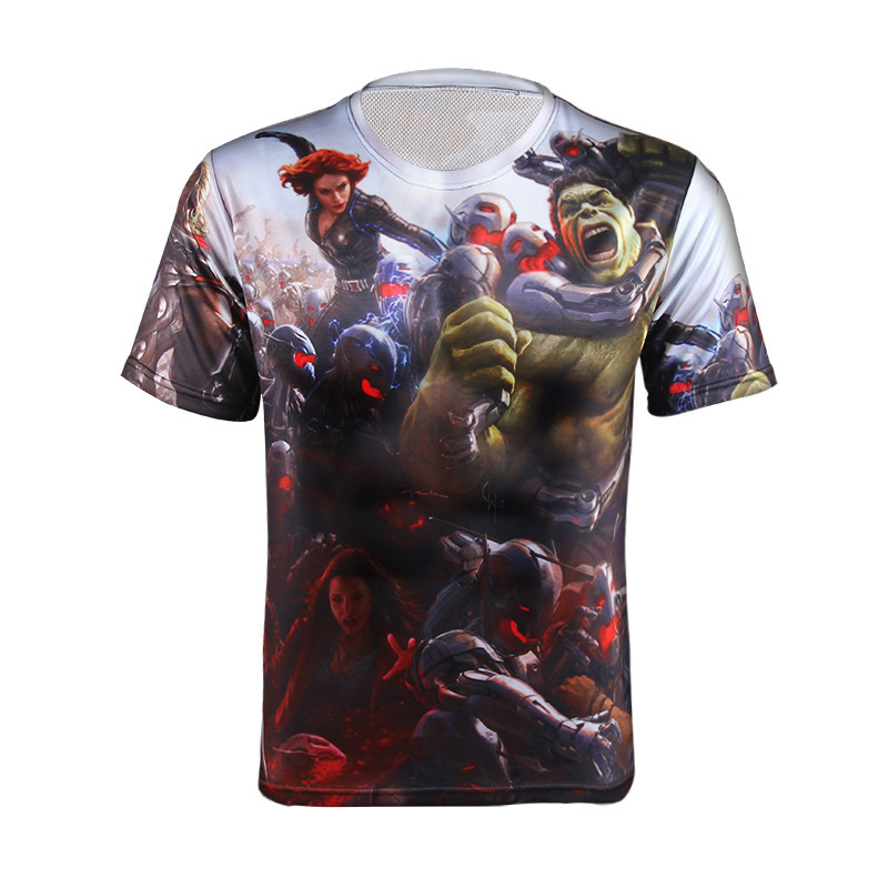 2016 under former fashion Deadpool Marvel superhero Captain America T-shirt men short-sleeved sports fitness base armor T-shirt(China (Mainland))