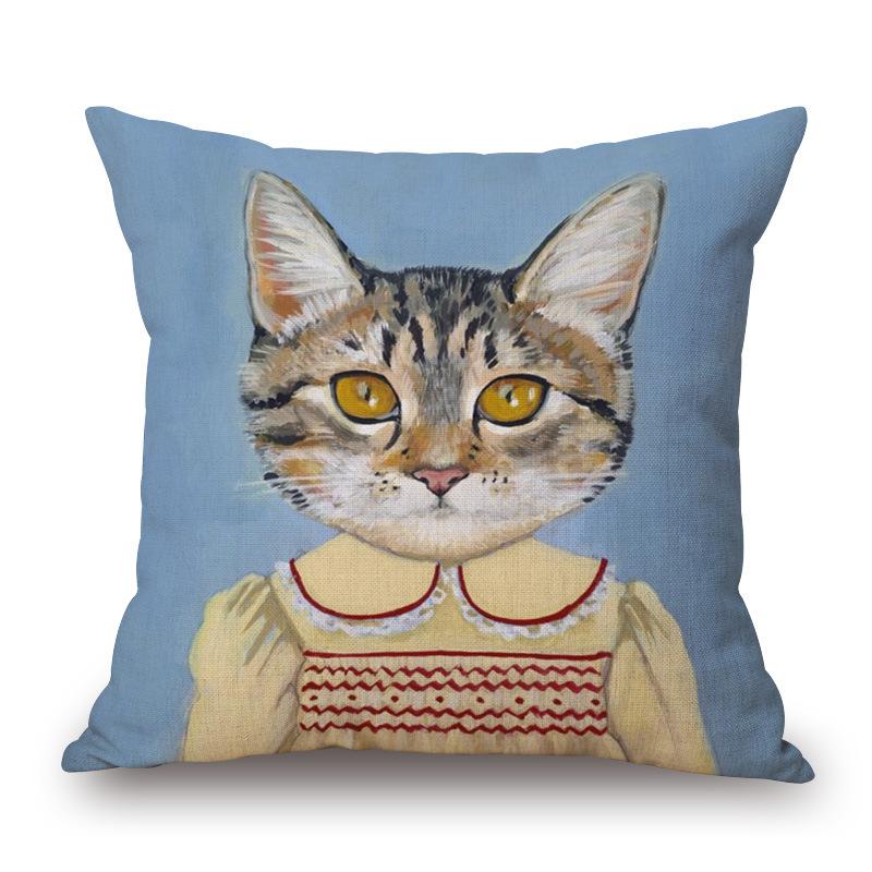 Cartoon cat portrait cotton pillow cover sofa decorated by pillowcase