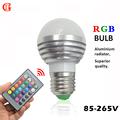 3W 16 Colors RGB LED Night light E27 GU10 E14 110V 220V LED lamp Aluminium Decor