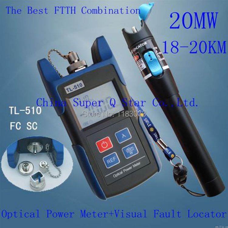 FTTH Kit TL510C -50~+26 Optical Power Meter with FC SC ST Connector +20mw Red Laser Fiber Optic Cable Tester (Range: 18-20km)
