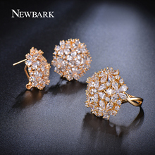 NEWBARK Big Gold-color Jewelry Set Cluster Flower Finger Rings Stud Earrings Water Drop CZ Stone Bijoux Femme Christmas(China (Mainland))