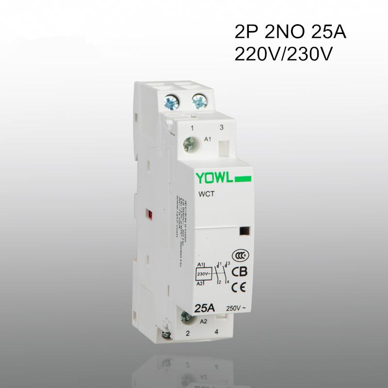 2P 25A CT1 220V/230V 50/60HZ Din rail Household ac contactor 2NO<br><br>Aliexpress