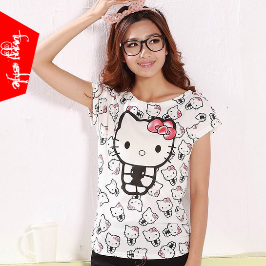 New 2014 Tops cute little cat Japan Korea lady Slim O neck T-shirt brand cotton t shirts for women clothing tees TJ175 J1J(China (Mainland))