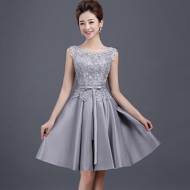 elegant formal girls modest satin short ball gown prom women grey red dress knee length dresses 2016 festa S3612 - I And You Story store