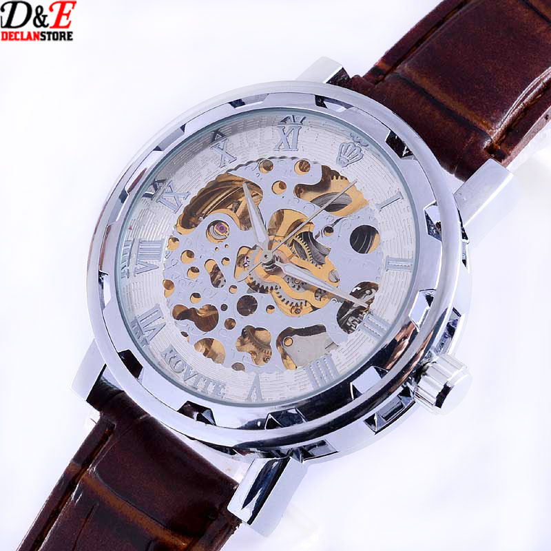New Arrival Vintage Silver Stainless Steel Case  Dial mens automatic watch Leather Band mechanical Wrist Watch free shiping<br><br>Aliexpress