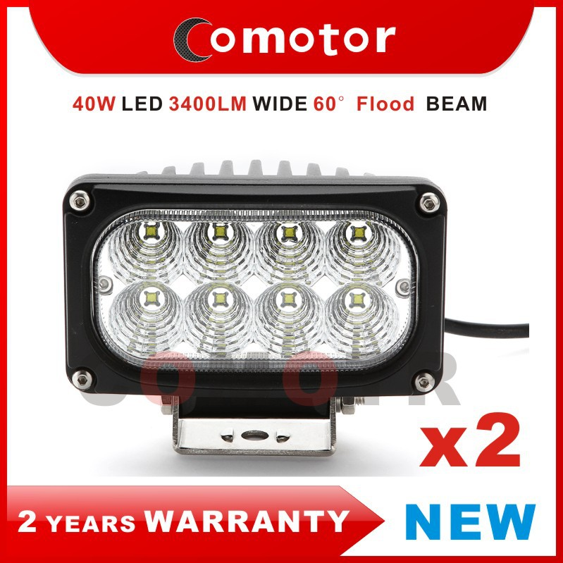 2PCS 40W FLOOD BEAM CREE LED Work Light FOR Tractor/ Boat/ Off-Road car/ SUV, Used in 12V/ 24V 4WD ATV High intensity Car Lights(China (Mainland))