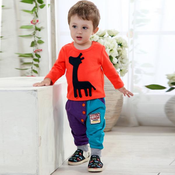 [해외]유아 소년 T 셔츠 바지에게 2 개 세트 기린 패턴 의상 의상 ..