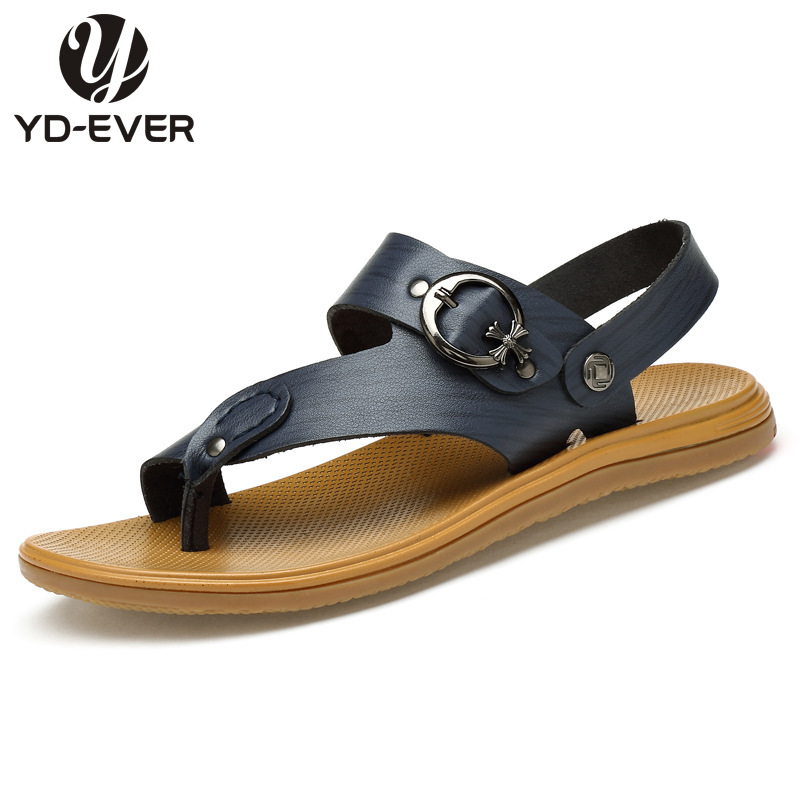 2016 Genuine Leather Men sandals,plus size Summer fashion brand beach slippers Men's flip flops casual moccasin Soft Loafers(China (Mainland))