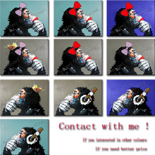 100% Hand Painted new popular products free shipping oil painting canvas monkey sitting room adornment art of art for Home Decor(China (Mainland))