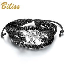 2015 Charm Bangle Vintage Multilayer Infinity Heart Love Leather Braided Cuff Bracelet Women Bracelets & bangles(China (Mainland))