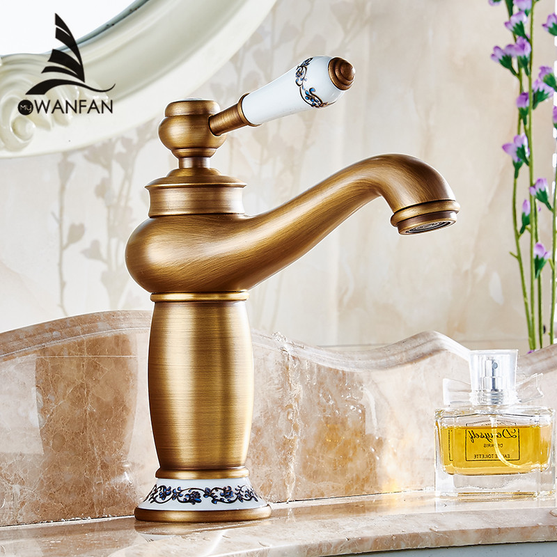 Free shipping Contemporary Concise Bathroom Faucet Antique bronze finish Brass Basin Sink Faucet Single Handle water tap M-16F(China (Mainland))