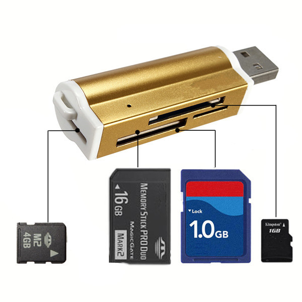 High Quality Multi All in 1 USB 2.0 Memory Card Reader for Micro SD MMC SD HC TF M2 Memory Stick MS Duo RS-MMC+Retail Package(China (Mainland))