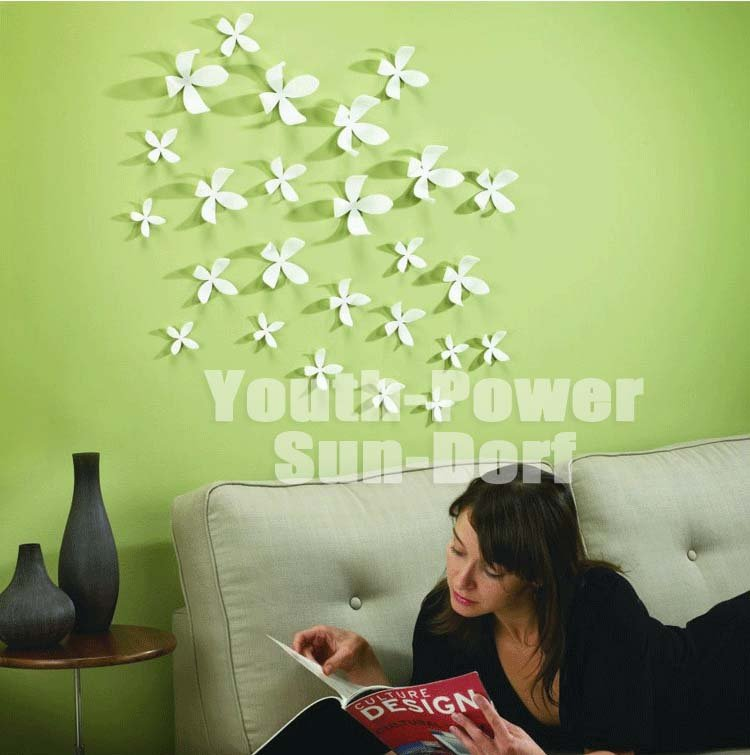 33D Wall Sticker Flower Home Decor Decoration Stickers (S)6x6cm white pink rose red green black brown orange yellow blue - Alipower Youth's store