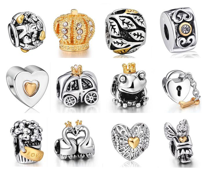 New! 925 Sterling Silver Charm 14KP Style European Charms Silver Beads For Snake Chain Bracelet DIY Fashion Jewelry(China (Mainland))