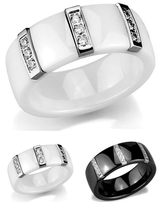 super junior white ceramic women black ceramic ring big rings for women big engagement rings for women free shipping(China (Mainland))