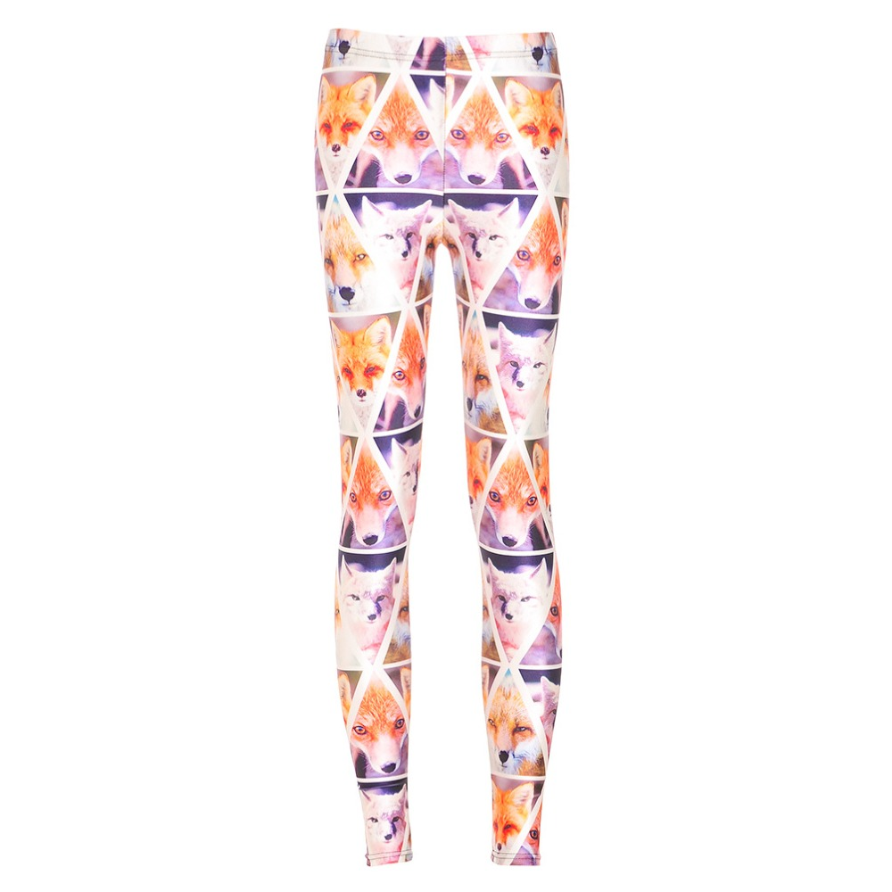 2016 New Arrival Plus Size Thousands Foxes Printed Casual Leggings Elastic 3D Animal Printing Pants 6 Patterns S To 4XL(China (Mainland))