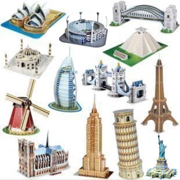 Mini 3D puzzles model jigsaw classic Construction Architecture intelligence kids learning&educational toys for children&adults(China (Mainland))