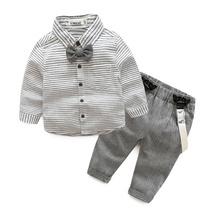 newborn baby clothes gentleman baby boy grey striped shirt+overalls fashion baby boy clothes(China (Mainland))