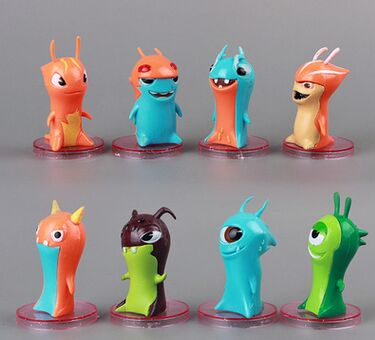 2016 new slugterra action 8pcs/set 5cm classic Animation Cartoon kids toy gifts for zhe new year hot sale(China (Mainland))