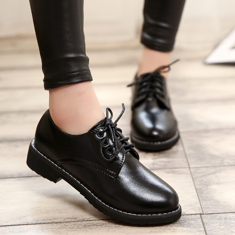 Patent Leather Lace Up Neutral Low Heel Casual Oxfords Round Toe Ankle Women Shoes Retro Vintage Ladies Flats Black Wine Red(China (Mainland))