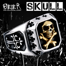 Beier 316L Stainless Steel ring biker Ring skull Man's special copper fashion jewelry BR8-331(China (Mainland))