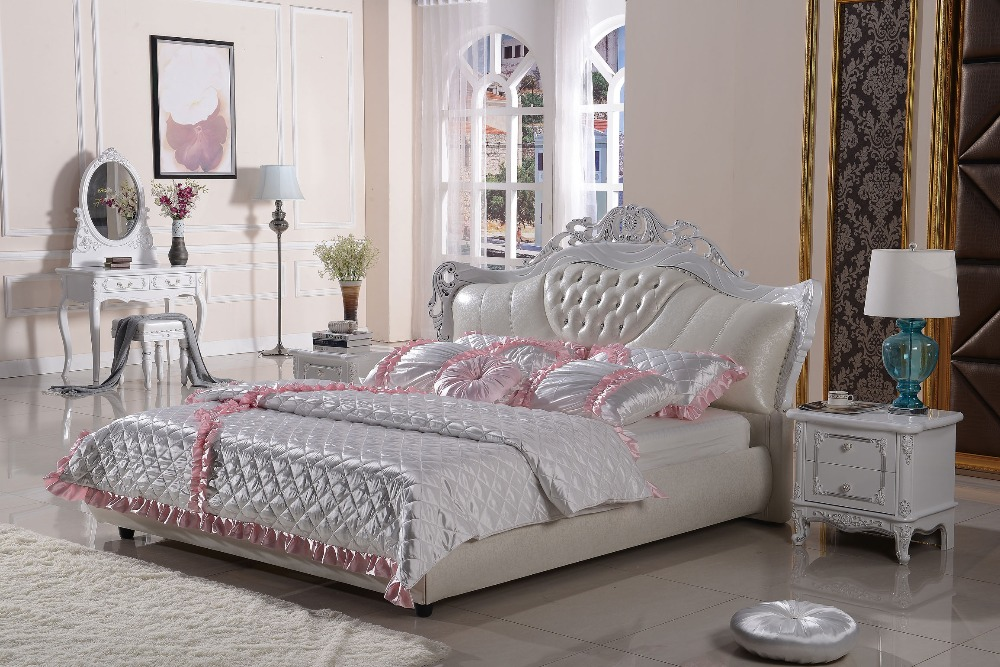 The modern designer leather soft bed / large double bedroom furniture, American style(China (Mainland))