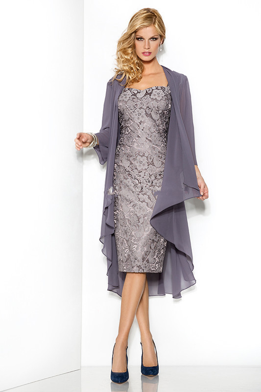 2016 mother of the bride dresses knee length gray lace for Dress and jacket for wedding guest