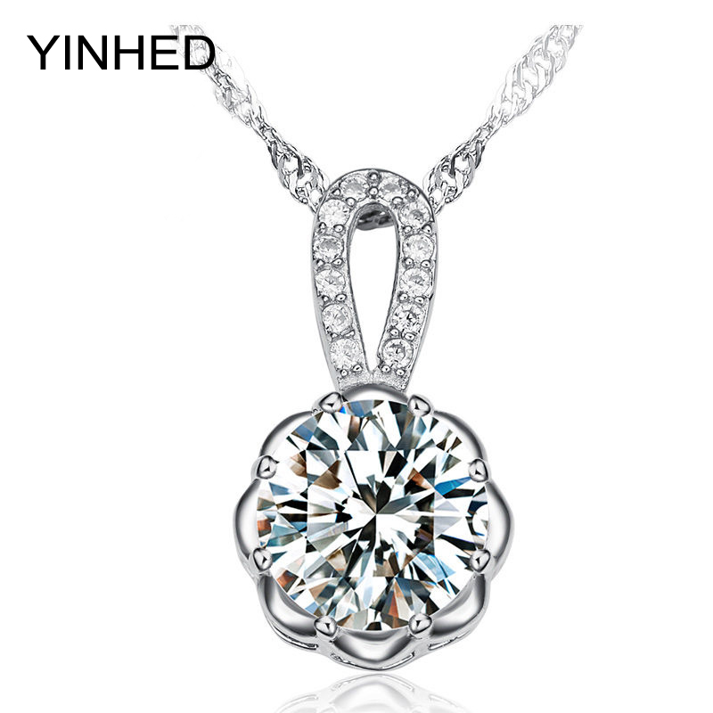Top Quality Shinny Hearts and Arrows CZ Diamond Pendants Necklace 100% 925 Sterling Silver Chain Necklace for Women ZN044(China (Mainland))