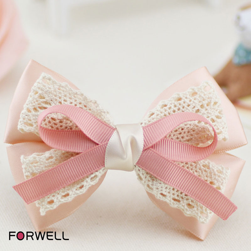 2016 girls women dinner party hair chips hair ornaments pink satin cloth white lace bow first flowers hairpins hair accessories(China (Mainland))