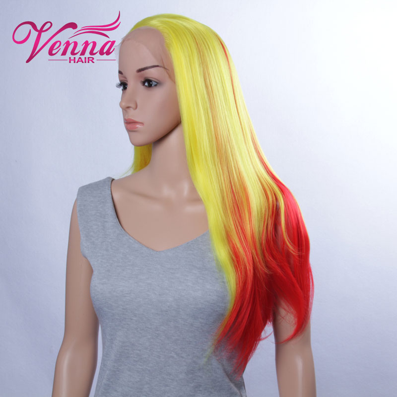 Harajuku Аниме парик Wigs Young Long Straight синтетический Hair парик Bangs Yellow to Red Costume Party Wigs For Black Women