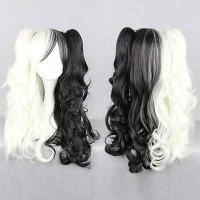 The broken 2 projectile woman black and white bear Cosplay Wig Natural   Hair wigs