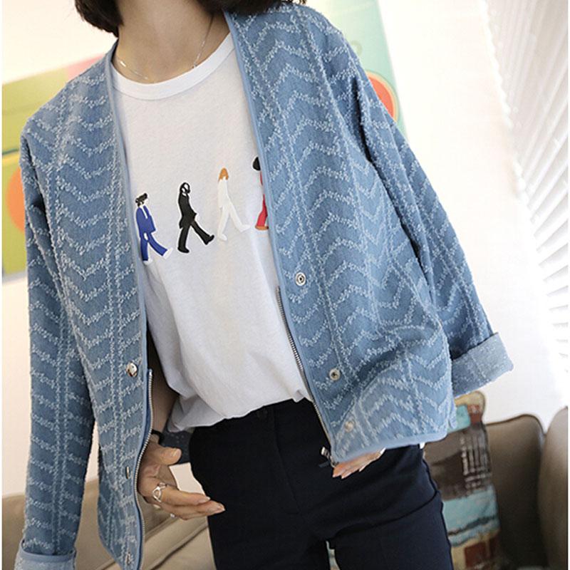 Brand New Autumn Classic Women Jacket Geometric Frayed Rivet Jackets Fashion Denim Jcaket Wide-waisted Coats Blue Sky Blue