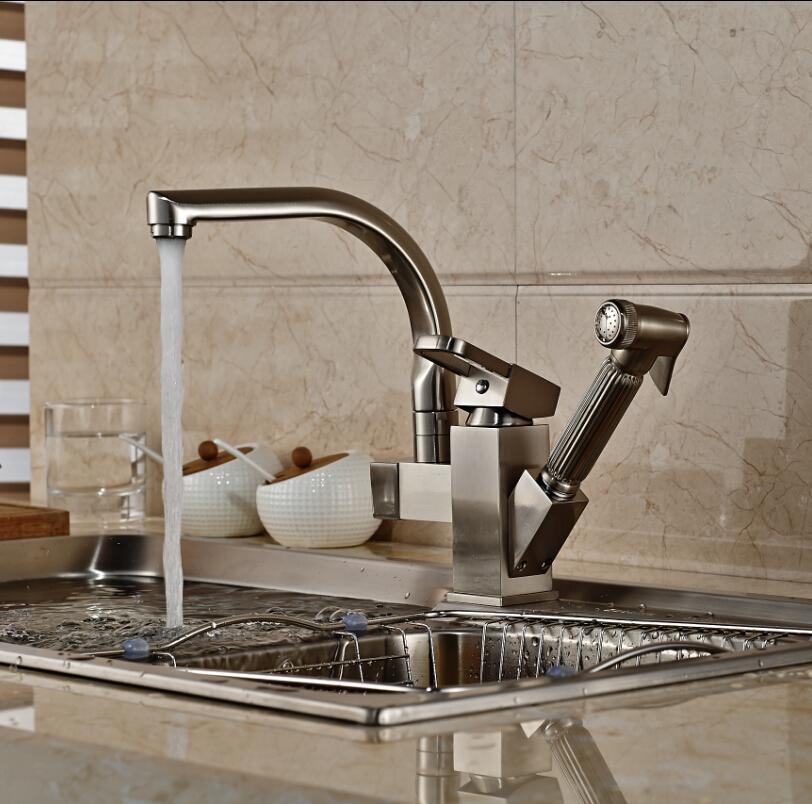 Deck Mount Pull Out Side Sprayer Kitchen Faucet Dual Spout
