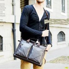 fashion Men's Genuine Leather Handbag Messenger Shoulder Bags Briefcases Laptop Bag Black Free Shipping(China (Mainland))