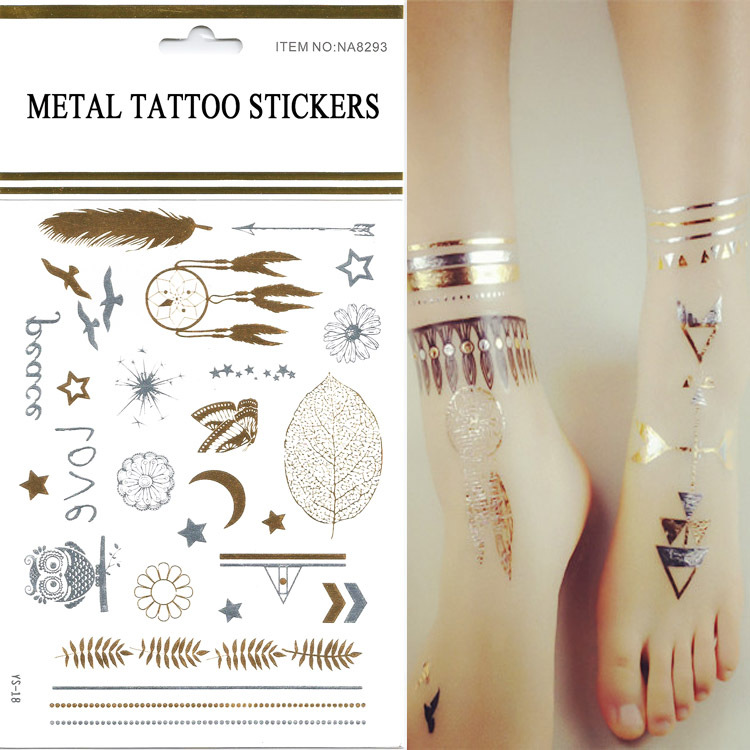 1pcs New Design Swallows / Temporary Flash Tattoo flush Tatto Gold Fake Chalker Transfer tattoos On The Body / Silver Color(China (Mainland))